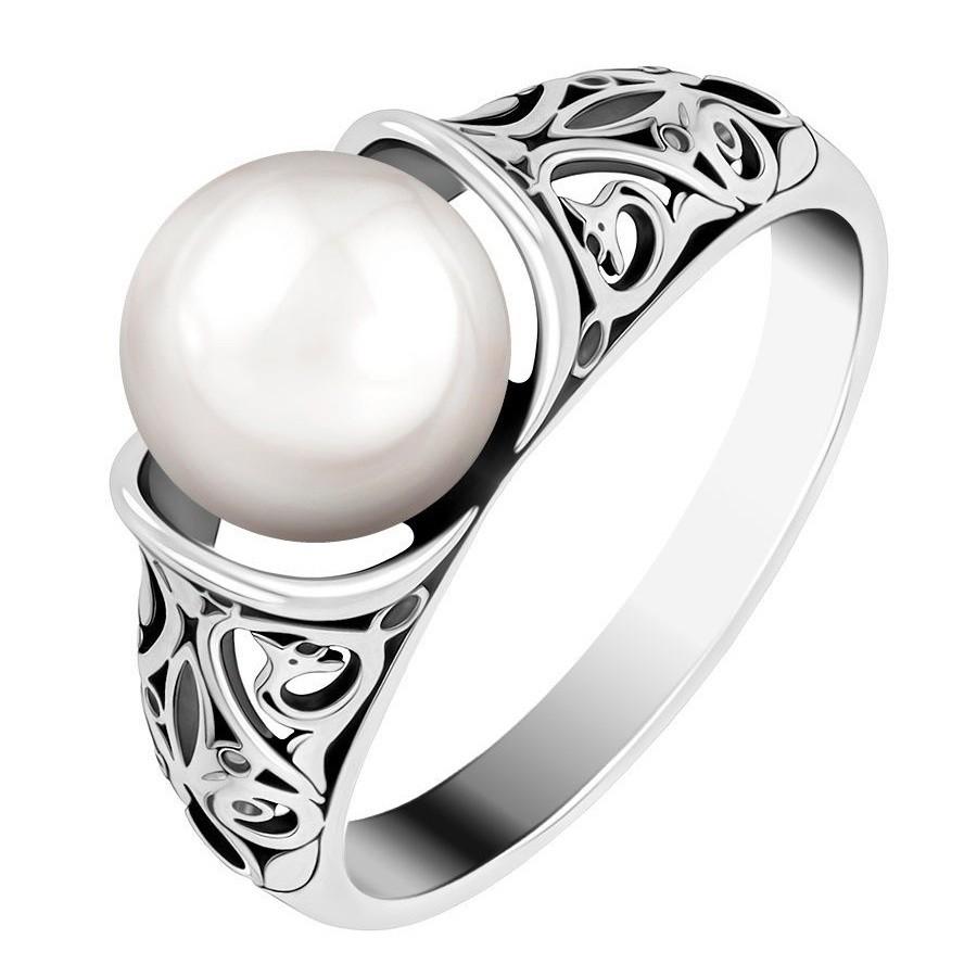 Кольцо с крупной жемчужиной