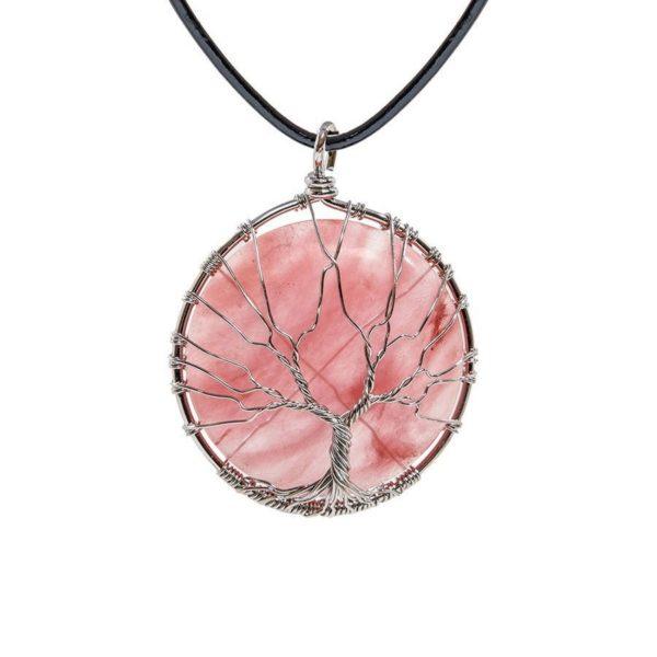 Красивый розовый кулон с камнем