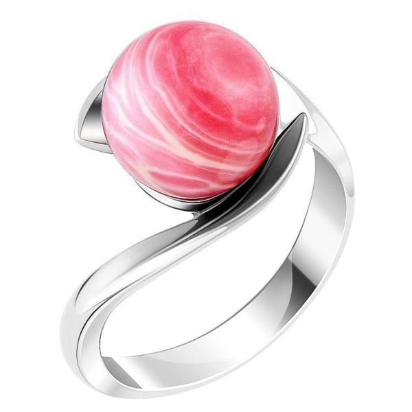 Серебристое кольцо с розовым камнем