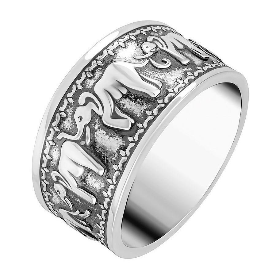 Женское кольцо серебристого цвета со слонами
