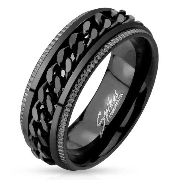 Черное мужское кольцо с цепью