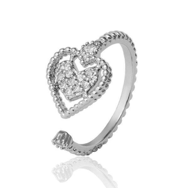 Женское кольцо с фианитами Сердце