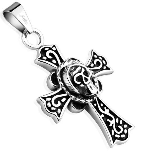 Крест на шею с черепом