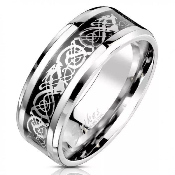 Серебристое мужское кольцо с узором