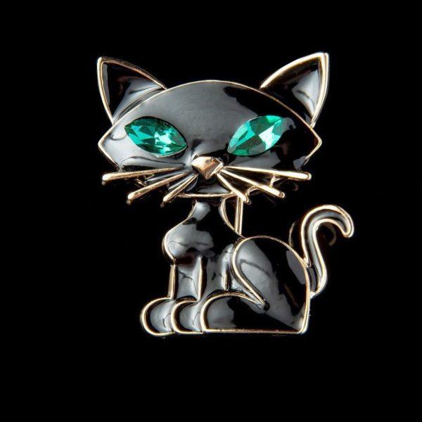 Брошь в форме кота черного цвета с зелеными глазами