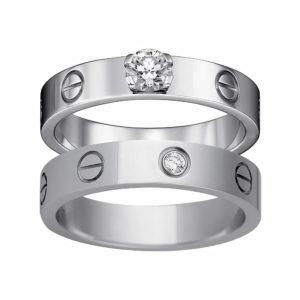 Обручальные кольца Cartier из белого золота с бриллиантами