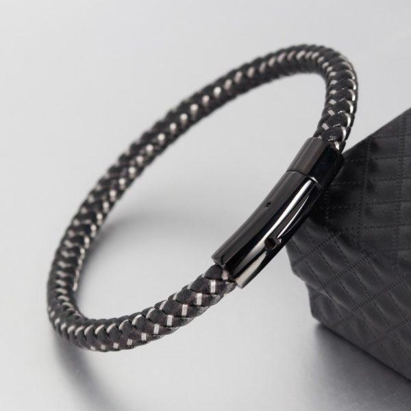 Плетёный браслет из кожи и стали с механической застёжкой