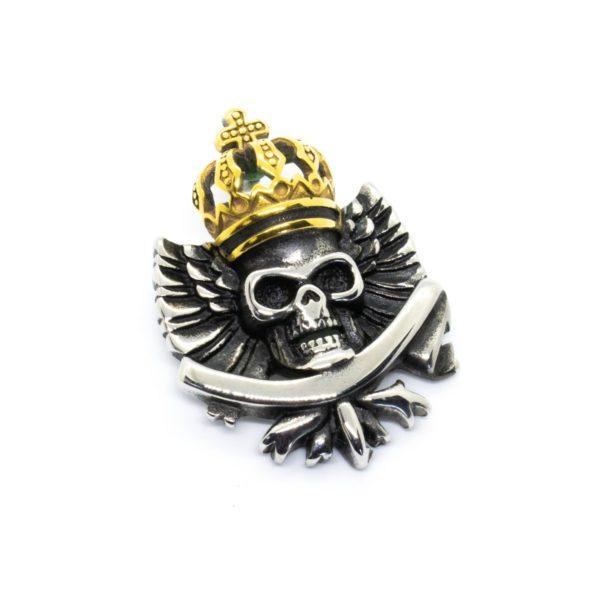 Брутальный череп-подвеска с золотой короной