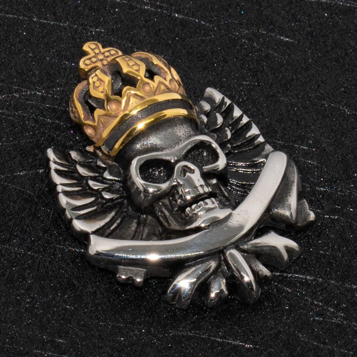 Кулон агрессивный череп с золотой короной