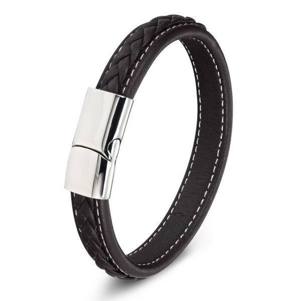 Черный браслет из экокожи