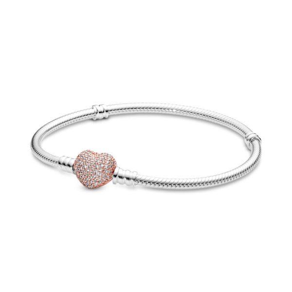 Серебристый женский браслет на руку с застежкой в виде сердца
