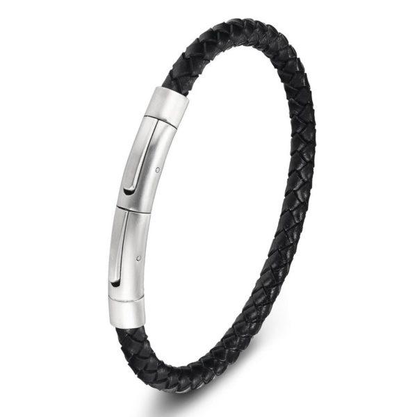 Черный мужской браслет из кожи с металлической застёжкой