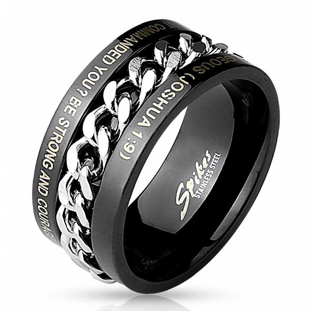 Черное мужское кольцо с надписью и вставкой в виде цепи