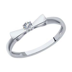 Кольцо помолвочное из белого золота