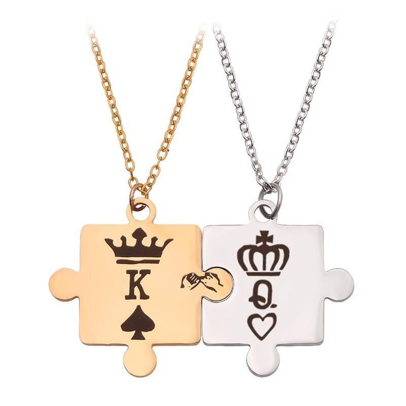 Парные кулоны в виде пазлов золотого и серебренного цветов
