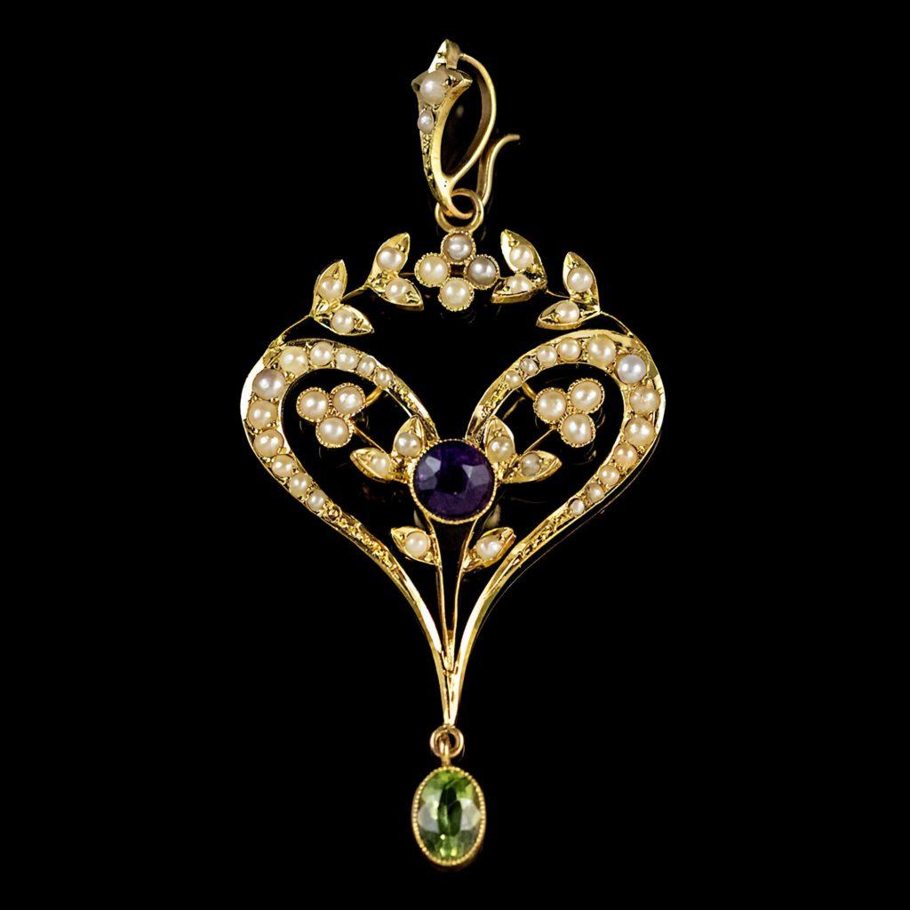 Украшение на шею Лавальеры золотое с фиолетовым драгоценным камнем