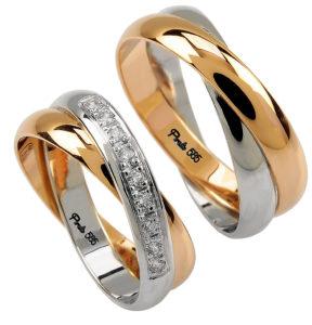 Уникальное обручальное кольцо из двух видов золота