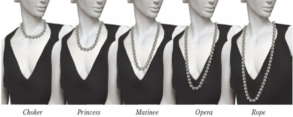 Виды жемчужных ожерелий по длине