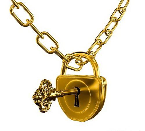 Золотой кулон с замком
