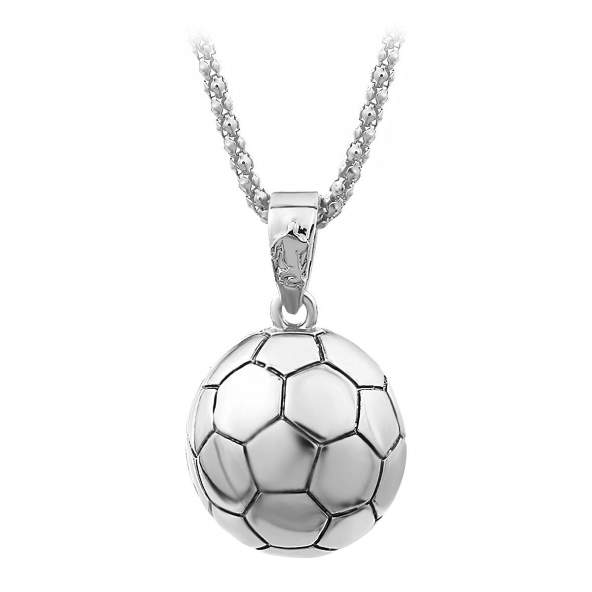 Кулон в виде футбольного мяча серебристого цвета