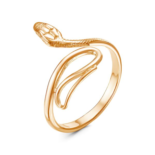 Кольцо-змея женское золотого цвета