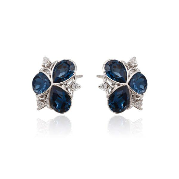 Красивые серьги с синими кристаллами