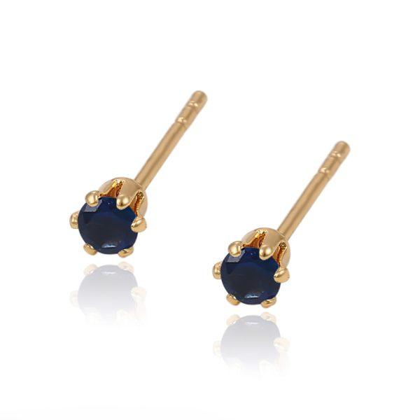 Маленькие серьги с синими кристаллами