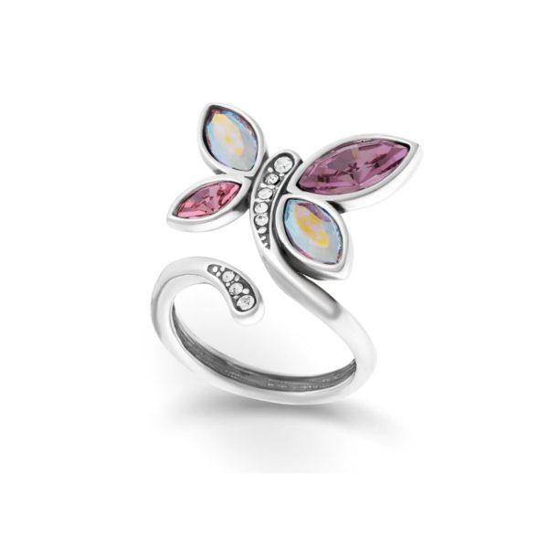 Милое женское колечко с кристаллами Сваровски