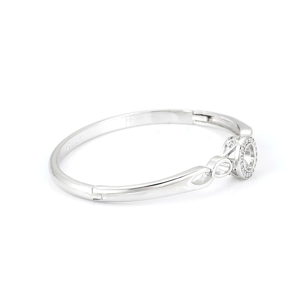 Модный браслет с кристаллами и покрытием из родия