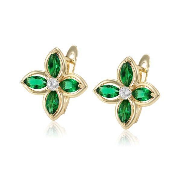 Серьги с зелеными кристаллами