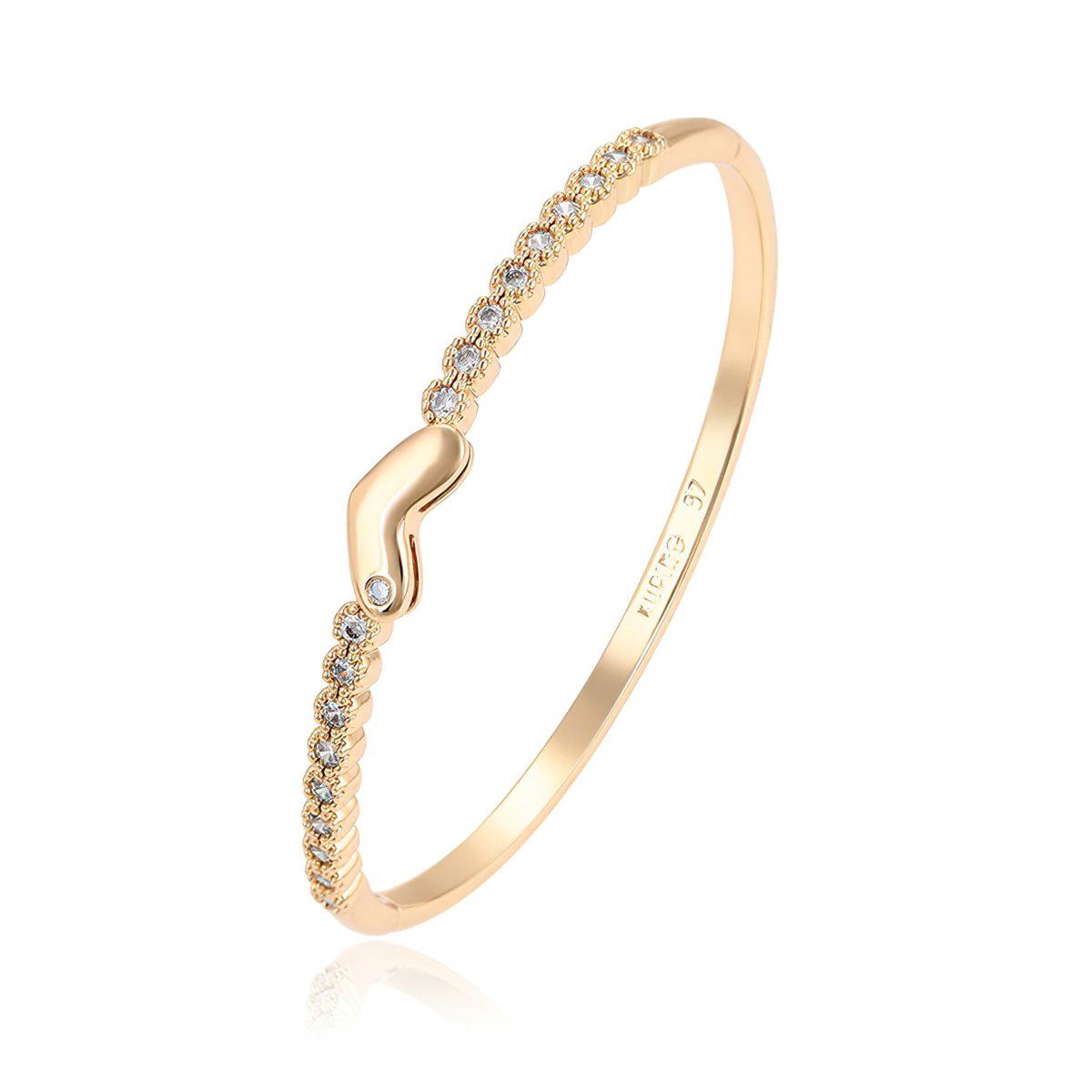 Яркий золотистый браслет для девушки
