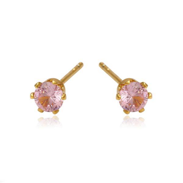 Золотистые серьги-гвоздики с кристаллами