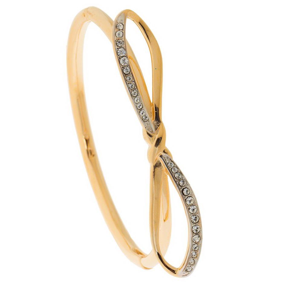 Браслет золотого цвета с кристаллами Сваровски женский