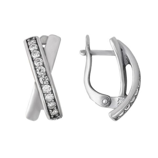 Серебристые серьги Икс с кристаллами