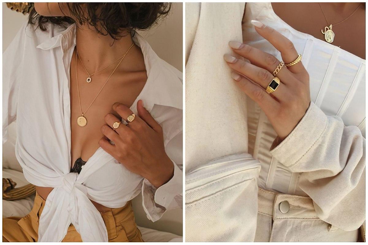 Женский стильный образ с перстнями-печатками