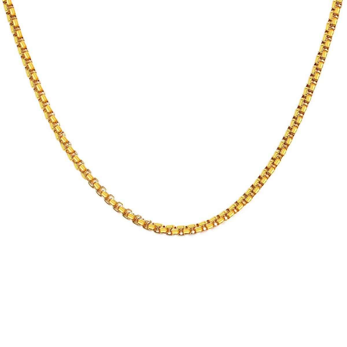 Цепь с венецианским плетением золотая